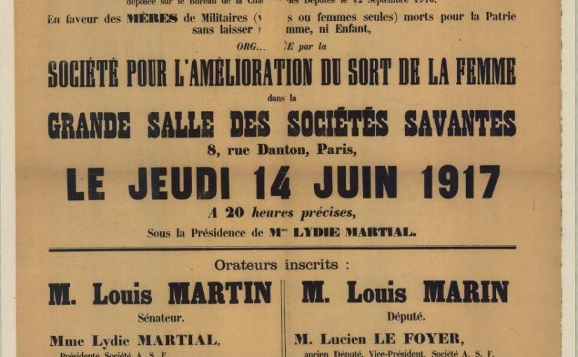 Réunion le 14 juin 1917 pour les mères